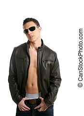 Young sexy boy sunglasses and leather jacket isolated on...