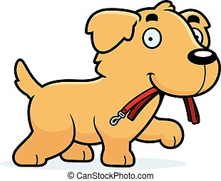 Cartoon Golden Retriever Leash - A cartoon illustration of a...