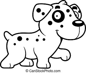 Cartoon Dalmatian Walking - A cartoon illustration of a...