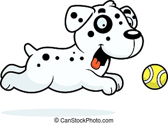 Cartoon Dalmatian Chasing Ball - A cartoon illustration of a...