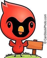 Cartoon Baby Cardinal Wood Sign - A cartoon illustration of...
