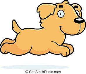 Cartoon Golden Retriever Running - A cartoon illustration of...