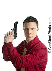Handsome private agent portrait with gun - Handsome sexy...