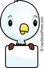 Cartoon Baby Bald Eagle Sign - A cartoon illustration of a...