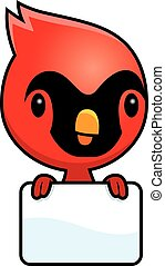 Cartoon Baby Cardinal Sign - A cartoon illustration of a...