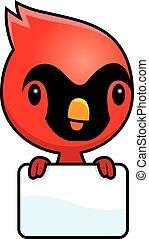 Cartoon Baby Cardinal Sign - A cartoon illustration of a...