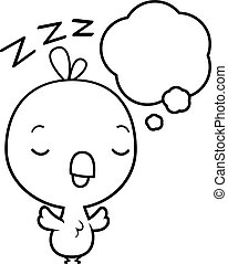 Cartoon Baby Chick Dreaming - A cartoon illustration of a...
