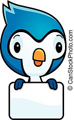 Cartoon Baby Blue Jay Sign - A cartoon illustration of a...