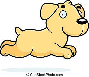 Cartoon Labrador Running - A cartoon illustration of a...