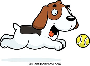 Cartoon Beagle Chasing Ball - A cartoon illustration of a...