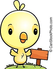 Cartoon Baby Chick Wood Sign - A cartoon illustration of a...