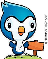 Cartoon Baby Blue Jay Wood Sign - A cartoon illustration of...