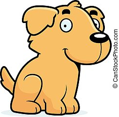 Cartoon Golden Retriever Sitting - A cartoon illustration of...