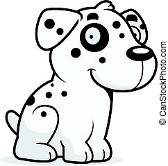 Cartoon Dalmatian Sitting - A cartoon illustration of a...