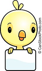 Cartoon Baby Chick Sign - A cartoon illustration of a baby...