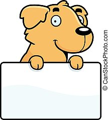 Cartoon Golden Retriever Sign - A cartoon illustration of a...