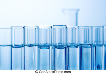 laboratory glassware in laboratory in chemistry lab - many...