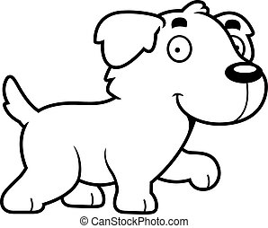 Cartoon Golden Retriever Walking - A cartoon illustration of...