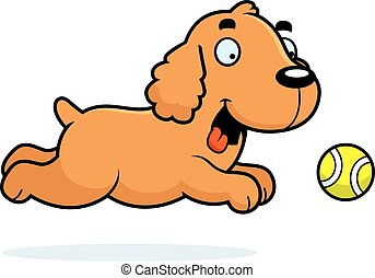 Cartoon Cocker Spaniel Chasing Ball - A cartoon illustration...