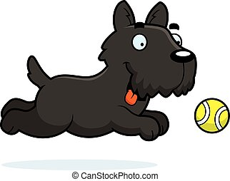 Cartoon Scottie Chasing Ball - A cartoon illustration of a...