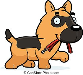 Cartoon German Shepherd Leash - A cartoon illustration of a...