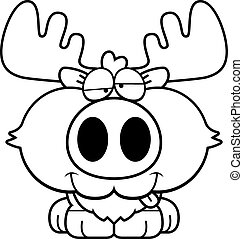 Cartoon Goofy Moose - A cartoon illustration of a moose with...