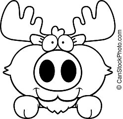 Cartoon Moose Peeking - A cartoon illustration of a moose...