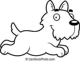 Cartoon Scottie Running - A cartoon illustration of a...