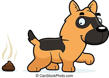 Cartoon German Shepherd Poop - A cartoon illustration of a...