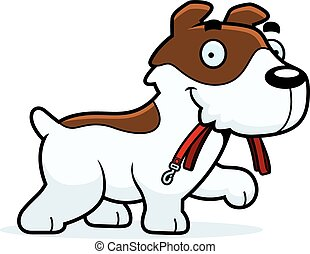 Cartoon Jack Russell Terrier Leash - A cartoon illustration...