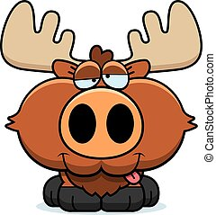 Cartoon Goofy Moose - A cartoon illustration of a moose with...
