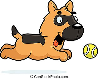 Cartoon German Shepherd Chasing Ball - A cartoon...