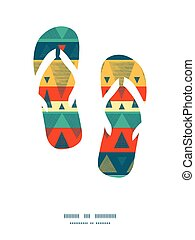 Vector vibrant ikat stripes flip flops silhouettes pattern...