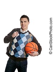 Happy young boy student with basketball ball, isolated on...