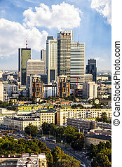 Business district - Warsaw business district at afternoon...