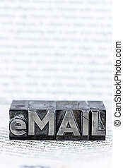 written email in lead letters - the word e-mail letters...