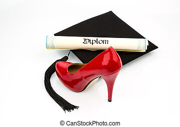 women's shoes on mortar - a red woman's shoe on a...