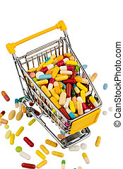 colorful tablets in cart