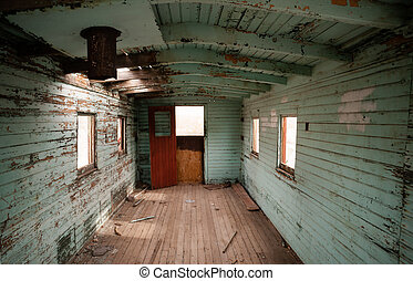 Abandoned Railroad Caboose Interior Western Ghost Town - The...