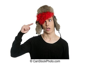 Crazy winter boy, snow hat, grunge modern look isolated on...