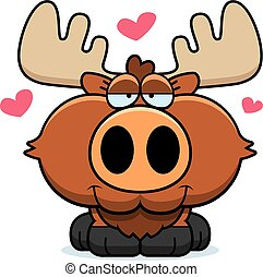 Cartoon Moose Love - A cartoon illustration of a moose with...
