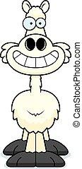 dessin animé, lama, heureux