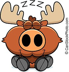 Cartoon Moose Napping - A cartoon illustration of a moose...