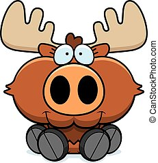 Cartoon Moose Sitting - A cartoon illustration of a moose...