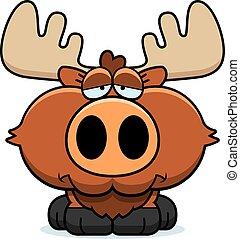 Cartoon Sad Moose - A cartoon illustration of a moose with a...