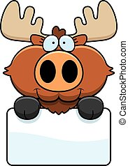 Cartoon Moose Sign - A cartoon illustration of a moose with...