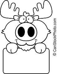 Cartoon Moose Sign - A cartoon illustration of a moose with...