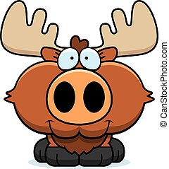 Cartoon Moose Smiling - A cartoon illustration of a moose...