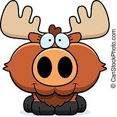 Cartoon Moose Smiling - A cartoon illustration of a moose...