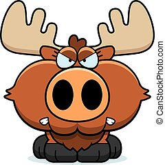 Cartoon Moose Angry - A cartoon illustration of a moose with...